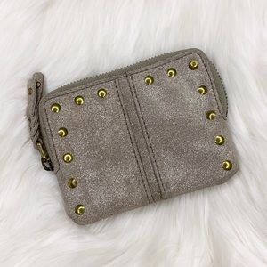 Fossil Suede Shimmer Zip Up Coin Change Purse